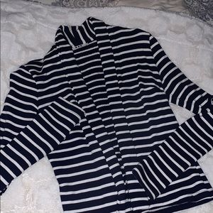 Three dots blue and white striped cardigan - EUC